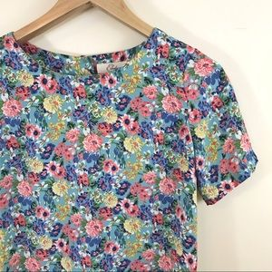 Elodie Anthropologie Micro Floral Open Back Top